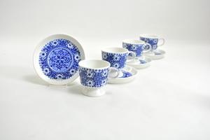 Kaffekoppar och fat, 4 st, Ali, blå, RU