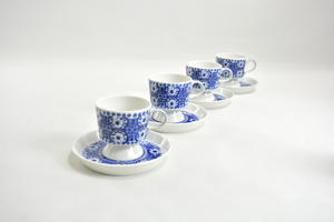 Kahvikupit ja aluslautaset, 4 kpl, Ali, sininen, RU