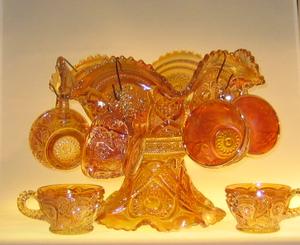 Bålskål och 6 st mugg, 8 delar, Lysterglas
