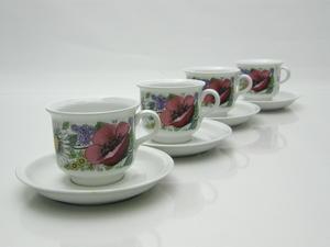 Kaffekoppar och fat, 4 st, Valmu, ET