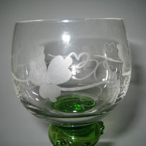 Vitvinglas, 2 st. grön fot