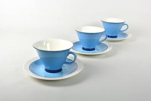 Kahvikupit ja aluslautaset, 3 kpl, Harlekin, Turkos,  IL