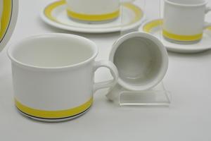 Tee-ja mokkakupit, 2+2 kpl, Faenza, Keltaraita(MYYTY)