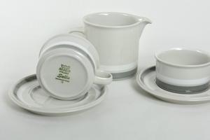 Tekoppar med underfat 2 st+ kanna, Salla, handmålad, RU(SÅLD)