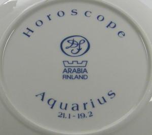 Väggfat, Horoscope, Aquarius, Vattumannen, handmålad, DvF