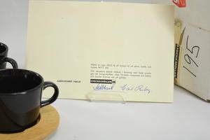 Kaffekoppar med underfat av trä 2 st,  Kilta, KF