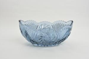 Skål, oval av pressglas, blå