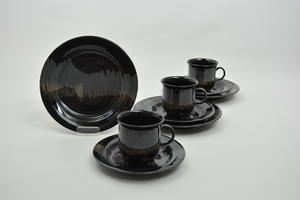 Kahvikupit ja asetit, 3 kpl, Aurora Borealis, IL