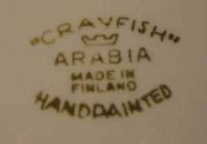 Serveringsfat, stor, Crayfish, Handmålad